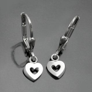 Mädchen Herz Ohrringe Kinder bewegliche Herzen Ohrhänger Hänger Echt Silber 925 - Vorschau 2