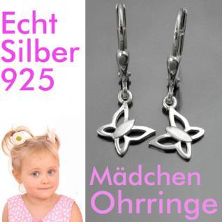 Mädchen Schmetterling Ohrringe Kinder Ohrhänger Hänger Echt Silber 925 Neu - Vorschau 1