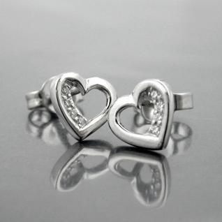 1 Paar Damen Premium Herz Ohrstecker Ohrringe weiße Zirkonia ECHT SILBER 925 Neu - Vorschau 2