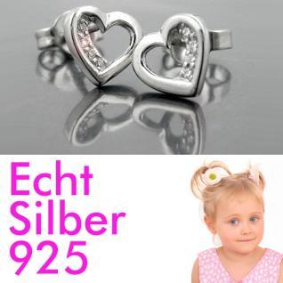 1 Paar Damen Premium Herz Ohrstecker Ohrringe weiße Zirkonia ECHT SILBER 925 Neu - Vorschau 1