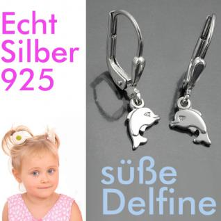 Mädchen Delfin Ohrringe Kinder süße Delfine Ohrhänger Hänger Echt Silber 925