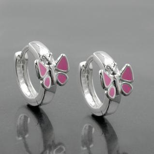 1 Paar Mädchen Klapp- Creolen Ohrringe mit rosa Schmetterling ECHT SILBER 925 - Vorschau 2