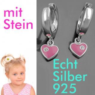1 Paar Mädchen Creolen Ohrringe rosa Herz Zirkonia Hänger Echt Silber 925 Neu - Vorschau 1