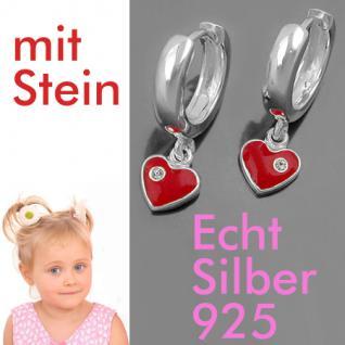 1 Paar Mädchen Creolen Ohrringe rotes Herz Zirkonia Hänger Echt Silber 925 Neu - Vorschau 1