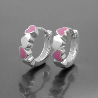 Mädchen Klapp- Creolen Herzen rosa Kinder Herz Ohrringe Paar Echt Silber 925 Neu - Vorschau 2