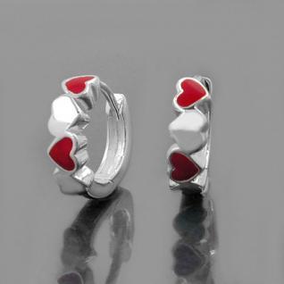 Mädchen Klapp- Creolen Herzen rot Kinder Herz Ohrringe Paar Echt Silber 925 Neu - Vorschau 2