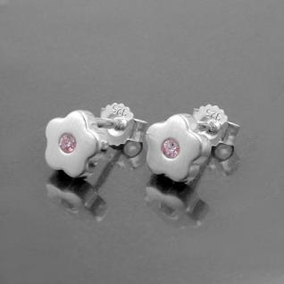 Mädchen Blumen Ohrstecker rosa Zirkonia Blümchen Ohrringe aus Echt Silber 925 - Vorschau 2