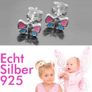Mädchen Schmetterling Ohrstecker rosa blau Kinder Ohrringe Echt Silber 925 Neu
