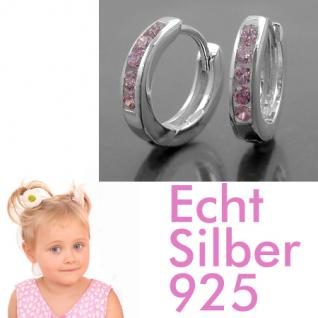 1 Paar Mädchen Scharnier- Creolen Ohrringe mit rosa Zirkonia Steinen Silber 925