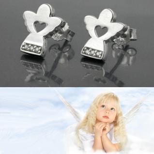 1 Paar Mädchen Ohrstecker Engel mit Herz Kinder Echt Silber 925 Ohrringe Neu