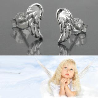 1 Paar Engel Engelsflügel Mädchen Ohrstecker Kinder Echt Silber 925 Ohrringe Neu - Vorschau 1