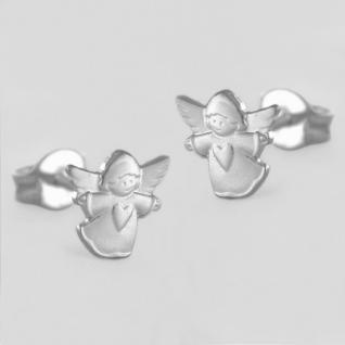 Mädchen Herz Schutz Engel Ohrstecker Kinder Ohrringe aus Echt Silber 925 Rhod.