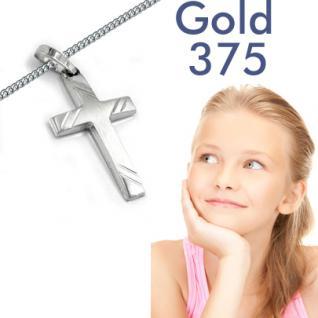 Kinder Kreuz Weiß Gold 375 Anhänger