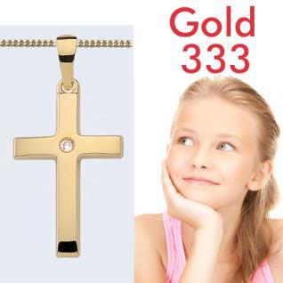 Kinder Zirkonia Kreuz Anhänger Gold 333 - Vorschau 1