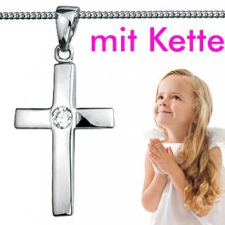 Kinder Taufe Kommunion Kreuz Anhänger mit Kette Echt Silber 925
