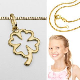 Gold 333 Kinder Damen Glücks- Klee Blatt Anhänger mit Silber VG Kette 42 - 40 cm