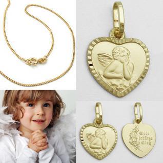 Gott schütze Dich Schutz Engel Herz Echt Gold 333 mit Silber 925 vergold. Kette