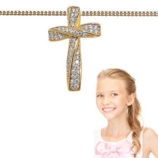 Premium Kreuz Anhänger Zirkonia Kommunion mit Kette Echt Silber 925 vergoldet