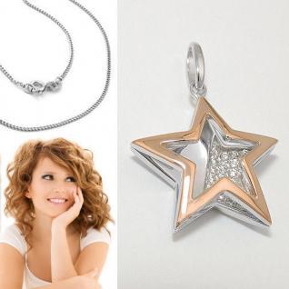 Design Frauen Spiegel Stern Anhänger mit Zirkonia Rosè Gold mit Kette Silber 925