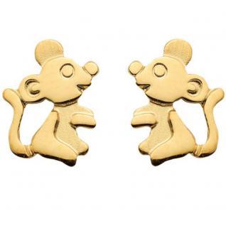 Mädchen Damen Maus Ohrstecker Kinder Mäuschen Ohrringe Echt Gold 333 Gelbgold