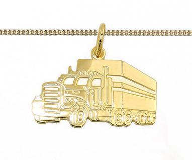 Gold 333 Männer LKW Sattelschlepper Gravur Anhänger Name Datum mit Silber Kette
