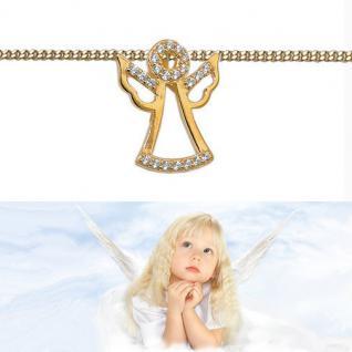 Baby Kinder Schutz Engel Zirkonia Anhänger mit Kette Echt Silber 925 vergoldet