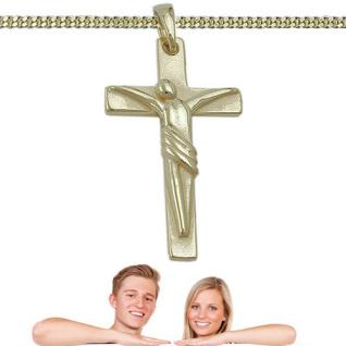 Jesus Korpus Kreuz Kommunion Kinder Taufe Anhänger Kette Silber 925 vergoldet