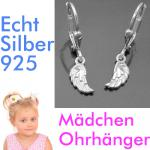 Mädchen Ohrringe Engels Engel Flügel Kinder Ohrhänger Hänger aus Echt Silber 925