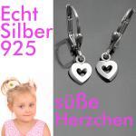 Mädchen Herz Ohrringe Kinder bewegliche Herzen Ohrhänger Hänger Echt Silber 925