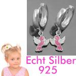 1 Paar Mädchen Creolen Ohrringe mit süßen rosa Vögel Hänger Echt Silber 925 Neu