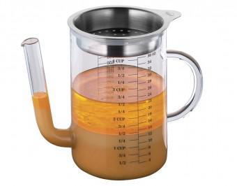 Fett-Trennkanne / Ölabscheider Glas mit Edelstahl 1L