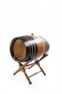 Holzfass mit Ständer 2 Liter, dunkel, Eiche gekohlt