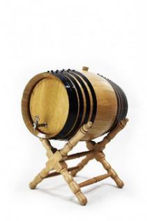 Holzfass mit Ständer 32 Liter, hell, Eiche gekohlt