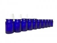10 x Blauglasflasche 5 ml mit DIN18 Gewinde & Deckel