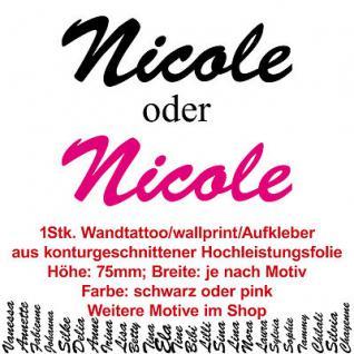 Nicole Kindername Namensschild Auto Wand Schriftzug Aufkleber Tattoo Wandtattoo