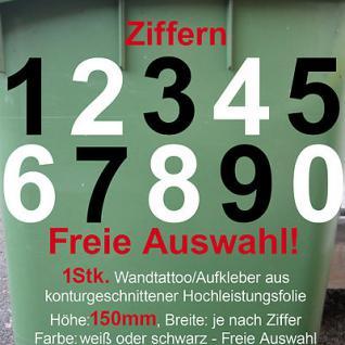 Aufkleber Hausnummer Mülltonne Mülleimer Wunsch Zahl Ziffer Nummer 150mm 15cm