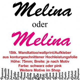 Melina Kindername Namensschild Auto Wand Schriftzug Aufkleber Tattoo Wandtattoo