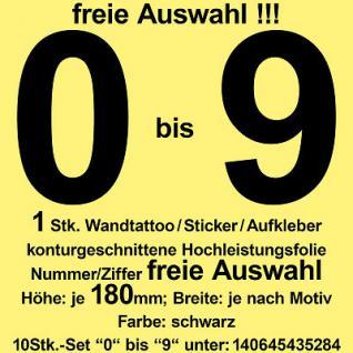 Zahl Ziffer Nummer 18cm 0 bis 9 freie Auswahl Aufkleber Sticker Folie Wandtattoo