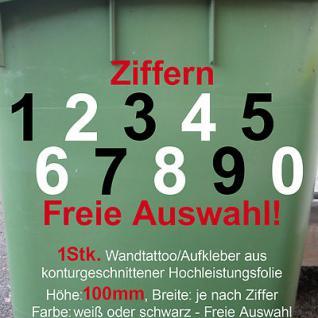 Aufkleber Hausnummer Mülltonne Mülleimer Wunsch Zahl Ziffer Nummer 100mm 10cm