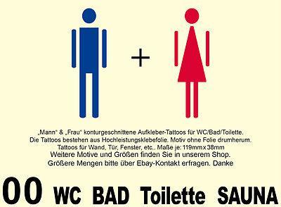 SET Hotel WC 00 Toilette Bad Hinweis Symbol Türaufkleber Aufkleber Wandtattoo