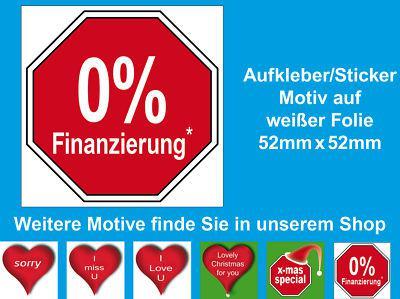 0% Finanzierung Raten Zahlung Angebot Regal Hinweis Werbung Aufkleber Sticker
