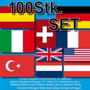 100 BRD USA CH Italia Türkei Nationalflagge Fahne Flagge WM EM Aufkleber Sticker