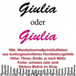 Giulia Kindername Namensschild Auto Wand Schriftzug Aufkleber Tattoo Wandtattoo