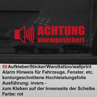 50 x Achtung Alarmgesichert Fenster Scheibe Aufkleber Wohnwagen Auto Wohnmobil