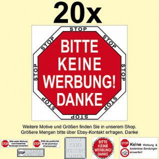 Briefkastenaufkleber Briefkastensticker Stop bitte KEINE Werbung Reklame Sendung