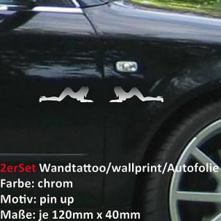 2x sexy pin up girl Autoaufkleber Wandtattoo Folie CHROM Auto Aufkleber Tuning