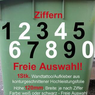 Aufkleber Hausnummer Mülltonne Mülleimer Wunsch Zahl Ziffer Nummer 120mm 12cm