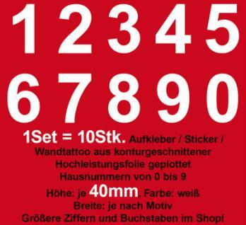 Set = 0 bis 9 Nummer Ziffer Zahl Klebeziffern Klebezahlen Aufkleber Folie Tattoo
