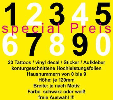 20 Stk Auto Wand Schrank Tür Nummer Ziffer Folie Aufkleber Sticker sign 0 bis 9