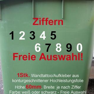 Aufkleber Hausnummer Mülltonne Mülleimer Wunsch Zahl Ziffer Nummer 60mm 6cm